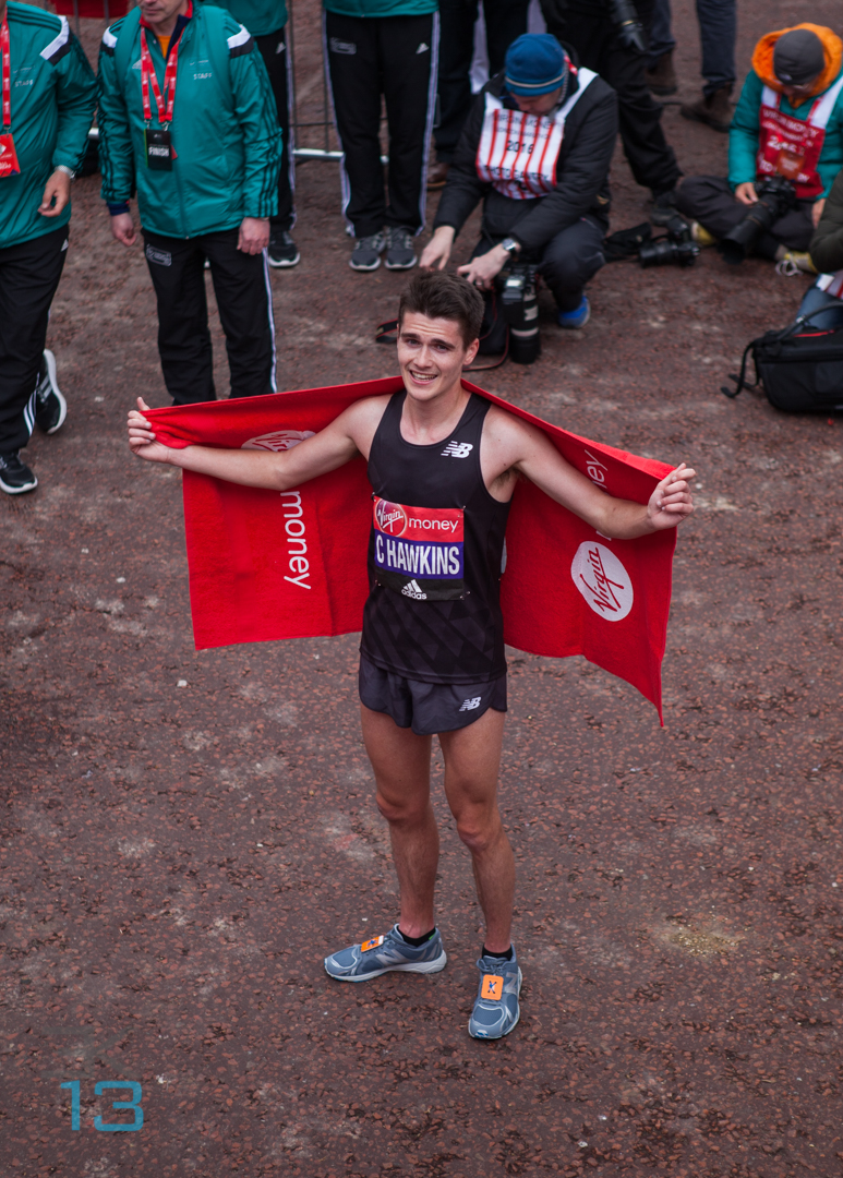 London, UK. 24th April 2016. Callum Hawkins first of the British men elite runners to cross the finish line during Sunday's Virgin Money London Marathon. Callum Hawkins crossing the finish line first with a time of 02:10:52 coming 8th overall. Credit: Elsie Kibue