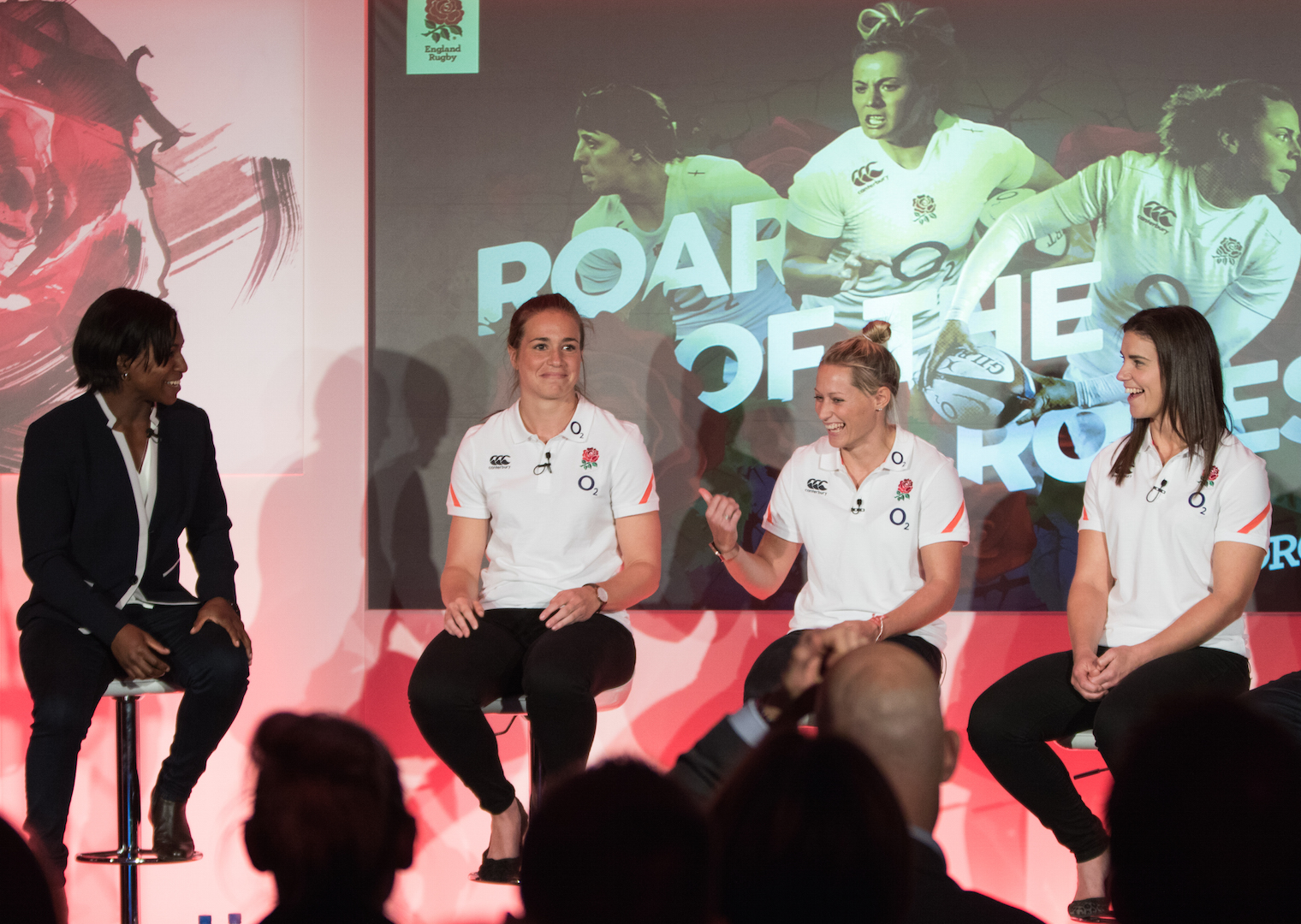 London, UK. 05th October 2016. (l-r) Former England international Maggie Alphonsi, England stars Emily Scarratt, Natasha hunt and Sarah Hunter at the media briefing for the unveiling of the new vision for women's rugby in England as part of Women's Sport Week (3 - 9 October 2016). Also present were RFU Director of Rugby Development Steve Grainger and RFU Professional Rugby Director Nigel Melville. © Elsie Kibue