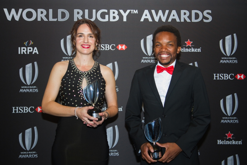 London, UK. 13th November 2016. Alhambra Nievas (Spain) and Rasta Rasivhenge (South Africa) awarded World Rugby Referee of the Year at the World Rugby Awards held at The Hilton London Metropole to honour the world's greatest players, coaches and legends of the game. © Elsie Kibue