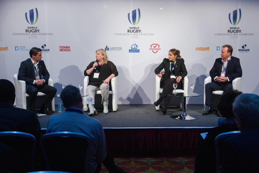 London, UK. 14th November 2016. Eoin McHugh moderates (l-r) Katie Sadleir (General Manager Women's Rugby, World Rugby), Fiona Coghlan (former Ireland women's captain) and Bill Pulver (CEO Australia Rugby) during the discussion panel for 'Growth of women's rugby' at the World Rugby Conference and Exhibition held at The Hilton London Metropole. © Elsie Kibue