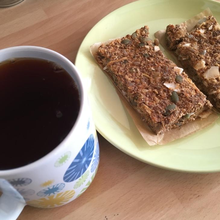 Carrot Cake Warrior Bars with Herbal Tea