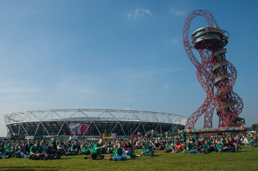 Rugby World Cup 2015 fans at the Queen Elizabeth Olympic Park Fanzone in Newham. London, UK.