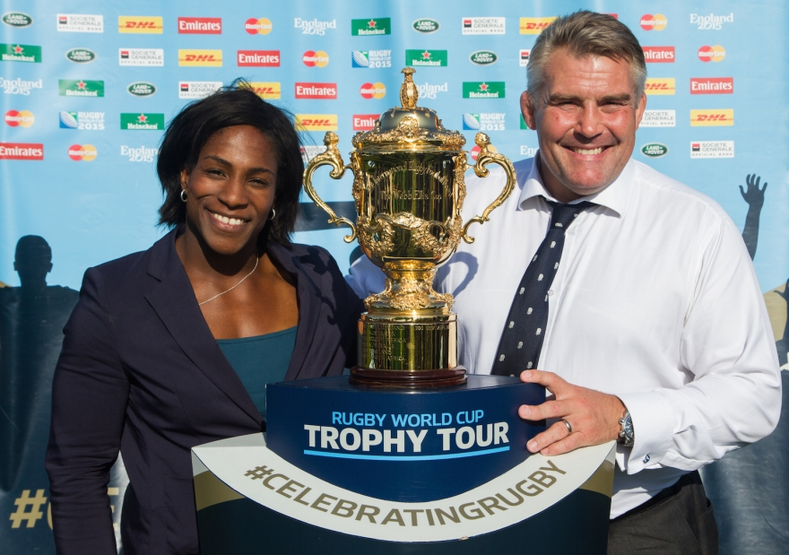 Rugby World Cup Trophy Tour in London, UK.